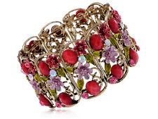 Vintage Inspired Pink Purple Enamel Pink Rhinestone Red Jeweled Floral Bracelet