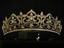 VINTAGE DESIGN GOLD ORNATE FLOWER LEAF CRYSTAL CROWN TIARA - BRIDAL WEDDING