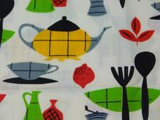 "1 Yard 36"" wide Vintage 100% COTTON FABRIC MOD KITCHEN Teapot Bowl Red Green Bla"