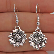 925 Silver Plated Hook-1.5'' Sunflower Plant Retro Silver Tone Lady Earrings #61