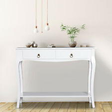Konsolentisch mit 2 Schubladen Konsole Sideboard Holzfüße Flur Weiß