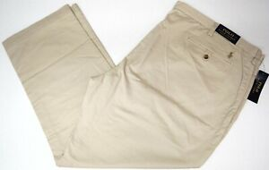 NEW $98 Polo Ralph Lauren Mens Stretch Classic Fit Flat Chino Light Tan Pants
