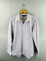 Sportscraft Mens Tapered Fit Long Sleeve Casual Dress Shirt Size 2XL Pink Stripe