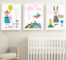 Scandinavian Animals Nursery Prints Set Of 3 Baby Room Pictures Wall Art Decor