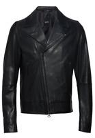 Hugo Boss Lederjacke Bikerjacke Gerdik Leather Jacket Gr 48 schwarz black NEW