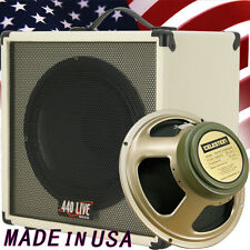 1x12 Guitar Speaker Extension Cab, w/8 Ohm CELESTION Greenback Ivory White tolex