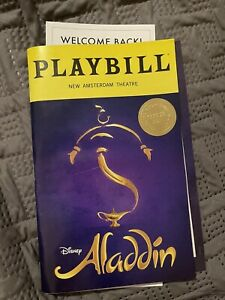 Playbill ALADDIN Broadway Musical REOPENING 2021, w/ raised Reopening night Seal