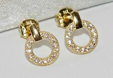 9ct Gold Diamond Infinity Circle Hoop Ladies Stud Earrings -