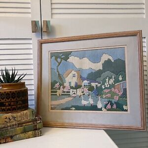 Homemade Vintage Tapestry Framed Picture Farmhouse Country Cottagecore Art