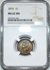 NGC MS-62 BN 1874 Indian Head Cent, Richly hued, lustrous specimen.