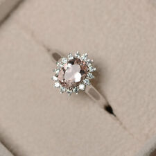 14K Solid White Gold Diamond 1.80 Carat Oval Morganite Engagement Ring Size L M