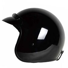 L - PGR B70 Gloss Black Motorcycle Vespa Open Face Bobber Harley DOT Helmet