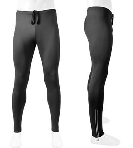 Mens Winter Running Stretch Fleece Exercise Pants with reflective zipper ankle