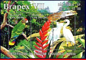 2158 BRAZIL 1988 ECOLOGICAL PRESERV., BIRDS, FLOWERS, PARROT, BRAPEX MI# B76 MNH