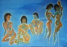 "ORIGINAL PAINTING ""Mueller's Girls"" by De Prado Expressionist Women tribute"