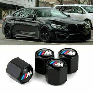 4x Black Metal Tyre Air Valve Dust Caps with BMW M Sport Logo
