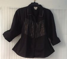 Black Button Down Shirt Studded Blouse Top 12/10/M 3/4 Sleev Occasion Casual New