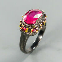 Natural Ruby 925 Sterling Silver Ring Size 8.5/RR17-1589