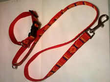 joblot  10x aztec  60inch  leads and med collars in red and blue aztec webbing