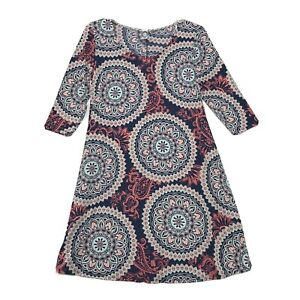 Honeyme Los Angeles Stretch A Line Dress Size M Medium Boho 1/2 Sleeve Pockets