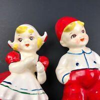 Vintage Keiss Dutch Boy Girl Figurine Figure JAPAN Set MCM Mid Century Ceramic