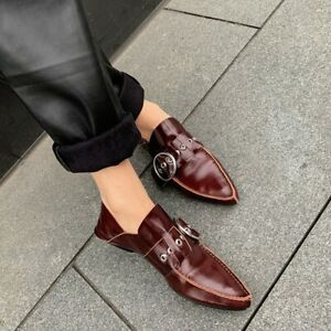 Fashion Women's Pointy Toe Flat Leather Buckle Strap Shoes Leather Leather Pumps