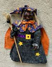 HALLOWEEN+DECORATION+++Witch+with+Broom++Tree+Topper+%2F+Table+%2F+Hanging++18%22++EUC