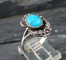 Navajo Old Pawn Indian 925 Sterling Silver Turquoise Leaf Flower Ring Size 6.75