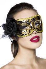 11775 Maschera del Mistero Viso Occhi Oro con Rosa Nera Travestimento Carnevale