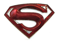 SUPER HERO S SUPER MAN METALLIC RED LOGO BELT BUCKLE DC SUPERMAN SNAP BELT