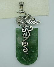 HUGE Designer SWAN Gemstone Pendant  925 Solid Sterling Silver  - 7.6 cm #E42