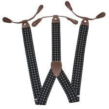 Men's Suspenders Braces Adjustable Leather Button Holes BD770