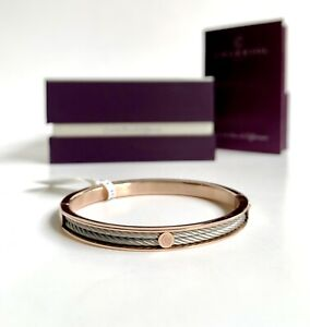 Charriol * Bangle Forever Thin 04-102-1139-7S Rose PVD & Silver Stainless Steel