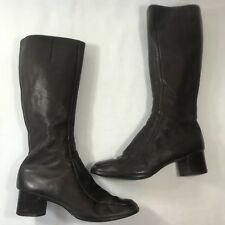 Bally VTG Sz 8 M Brown Quality Leather Zip Up Knee High Boots Made in Austria