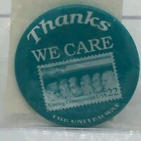 United Way Thanks We Care Postage Stamp Vintage Pin NYC Button Badge✨Rare✨NEW