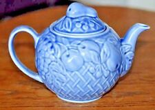 """Vtg """"Wade of England"""" Blue Ceramic Teapot w/Embossed Fruit Collectible Pottery"""