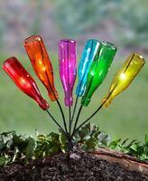 Solar Bottle Tree & or 6 Glass Colorful Bottles Set Outdoor Garden Yard Art Gift