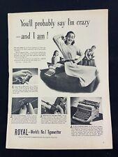 Royal Typewriter Magazine Ad 10.75 x 13.75 Sunkist Lemons