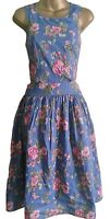 BN WALLIS LADIES FLORAL 50's COTTON CUT OUT PARTY SUMMER DRESS SIZE 8 10 12 14