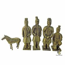 Terracotta Warriors & Horse - Chinese Army  Set of 5 - Polyresin - 4 x 4 x 17 cm