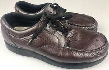 SAS Mens Bout Time Burgundy Leather Lace Up Moc Toe Tripad Comfort Shoes 12.5 WW