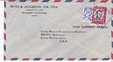 Airmail cover, Nicaragua, Managua to Iowa, 1960, Scott #C438 & postal tax RA65