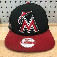 Miami Marlins MLB Baseball New Era 9FIFTY Original Fit Snapback Black & Red Hat