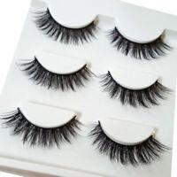3Pair Make Up 3D Natural Soft Handmade Thick Long Cross False Fake Eyelashes SA