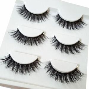 3 Pairs Make Up 3D Natural Soft Handmade Thick Long Cross False Fake Eyelashes//