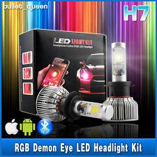 H7 2in1 60W LED Headlight Bulb Kit + RGB Demon Eye Bluetooth App-enabled Control