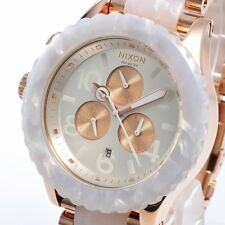 New NIXON Watch ladies 42-20 CHRONO White / Rose Gold A037-1046 A0371046