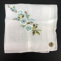 Vintage NOS Nasharr Handkerchief Hanky Blue Embroidered Floral Switzerland Woman