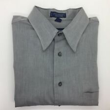 STAFFORD - Gray Long Sleeve Button Front Dress Shirt 16.5 32/33 RELAXED FIT Mens