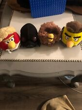"""Set Of 4 Star Wars Angry Birds Plush 5"""" Lot Cute Skywalker Vader Chewy Han Solo"""